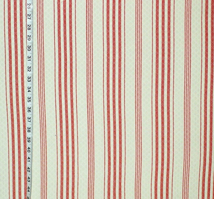 ORANGE RED TICKING STRIPE FABRIC