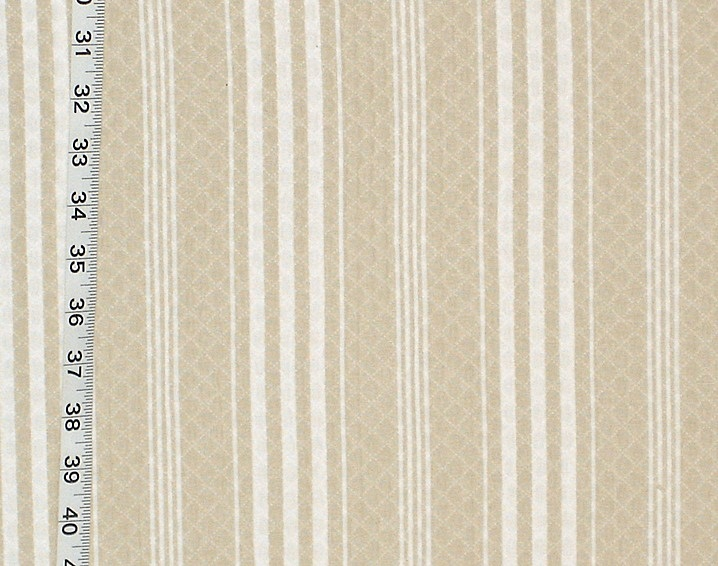 BEIGE TICKING STRIPE FABRC