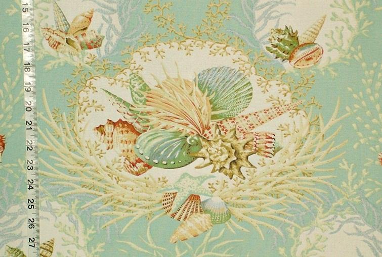 Aqua Seashell Fabric