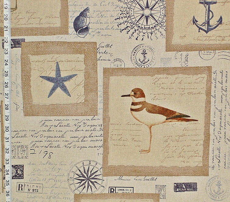 Nautical Fabric with Vintage French Letters