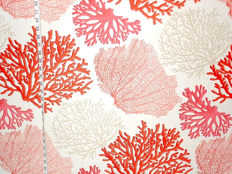 Red coral fabric pink salmon orange ocean from Brick House Fabric ...