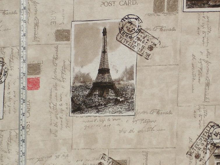 Paris Postcard Travel Fabric