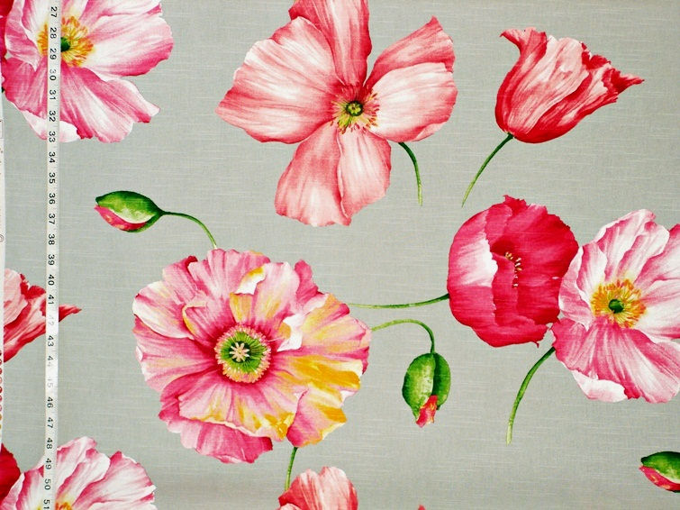 Pink Poppy Tulip Floral Fabric Coral Grey From Brick House Fabric