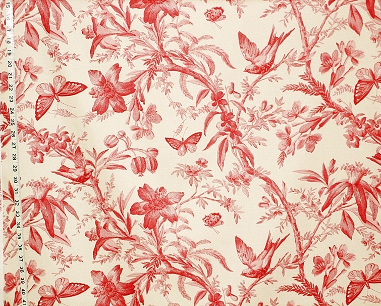 RED BIRD TOILE FABRIC