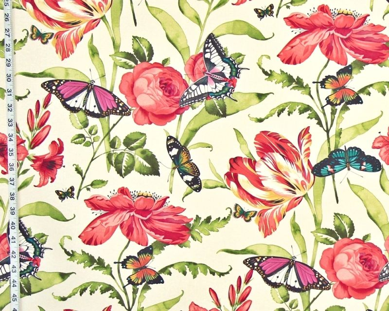 PINK CORAL FLOWER GARDEN BUTTERFLY FABRIC