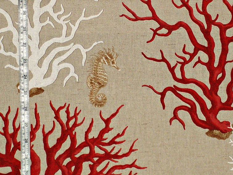 RED CORAL SEAHORSE FABRICS
