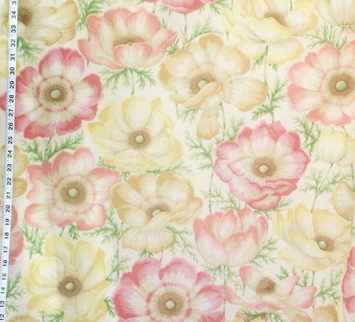 SALE - Sheer curtain fabric pink yellow floral from Brick House ...