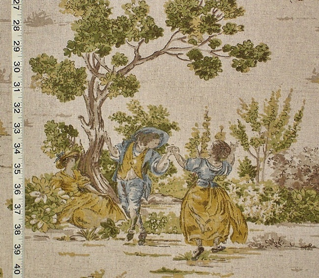 French Country Fabrics Part - 17: Yellow Gold Blue Toile Fabric French Country Vintage Look