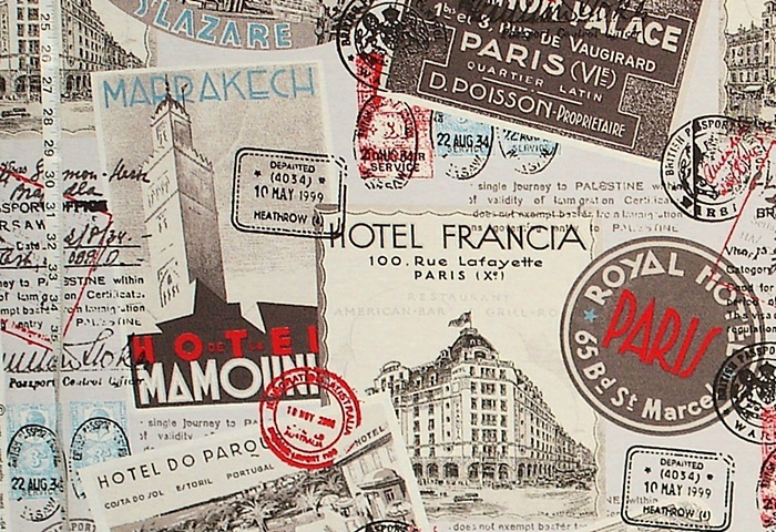 VINTAGE TRAVEL POSTER FABRIC