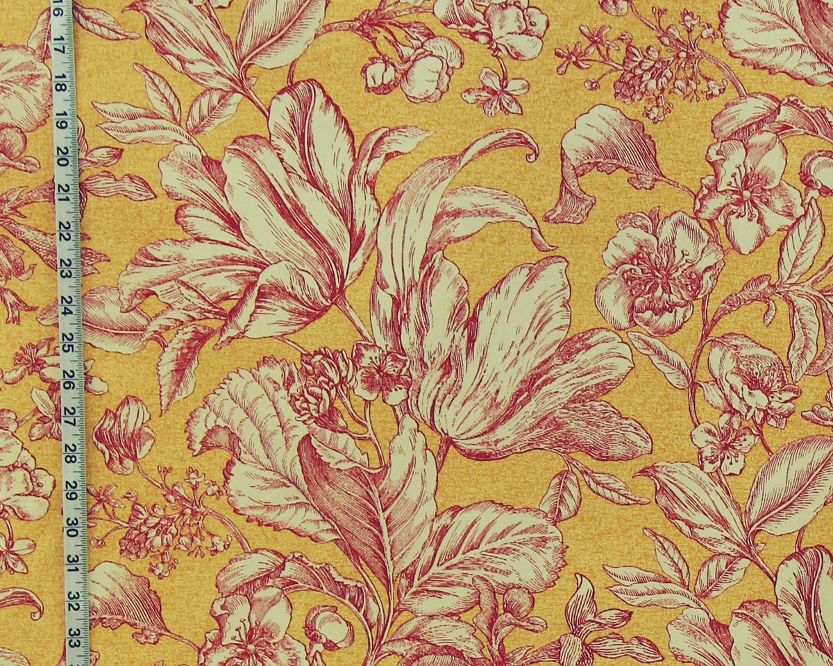 RED GOLD YELLOW TULIP TOILE FABRIC