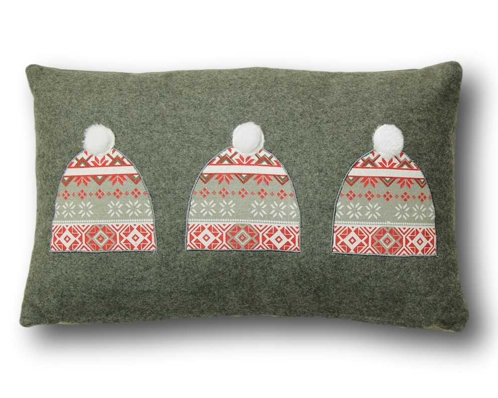 GREY SKI HAT PILLOW