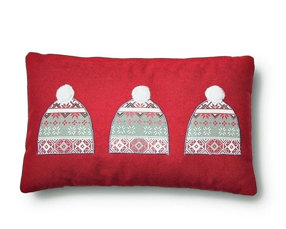 RED SKI HAT PILLOW