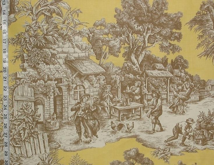 Yellow Toile Fabric