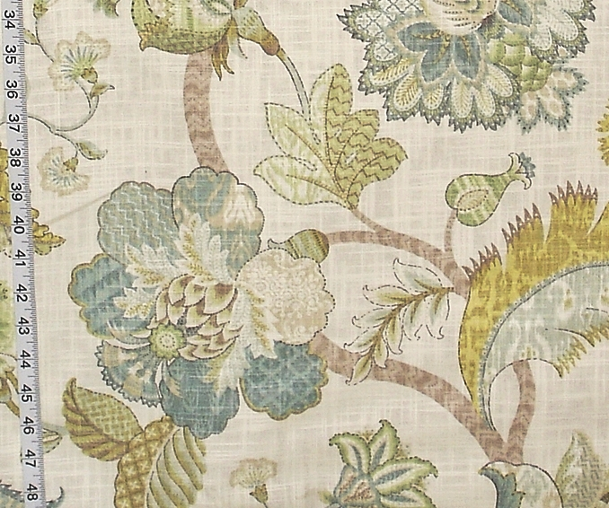 Indienne Fabric Jacobean Floral Gold Blue Aqua From Brick