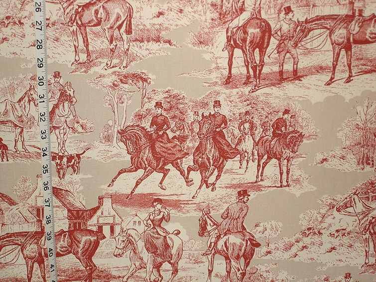Equestrian Horse Fabric Victorian Red Toile Double Wide