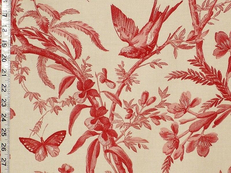 Red Bird Toile Fabric