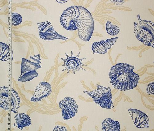 Blue toile seashell fabric