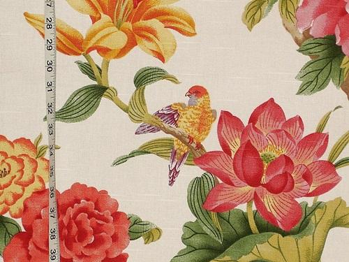 Parrot bird of paradise lotus fabric