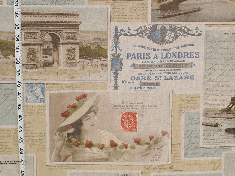Vintage French Postcard Fabric